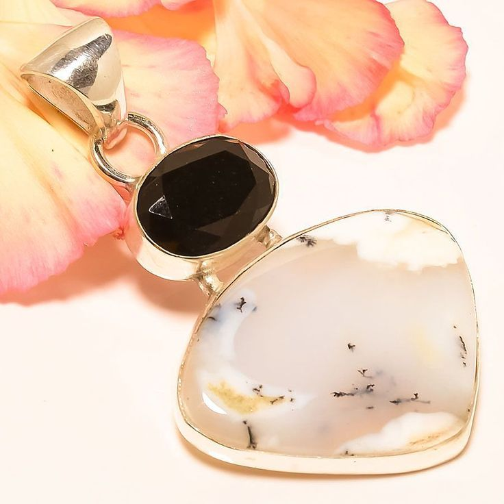"Dendritic Opal, Black Onyx 925 Sterling Silver Jewelry Pendant 2.56"" #Handmade #Pendant"