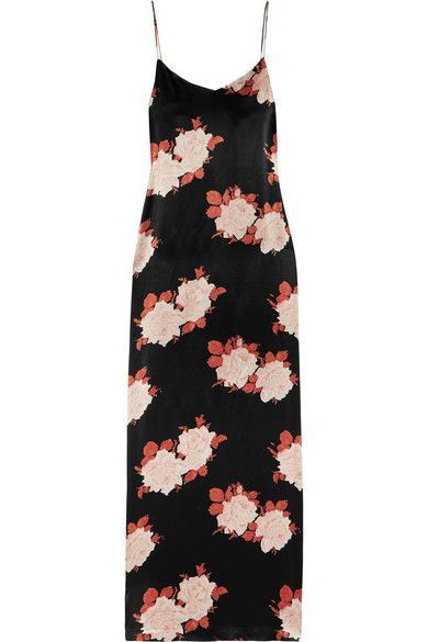 Black, tonal-red and tonal-pink satin  Slips on 100% viscose Dry clean