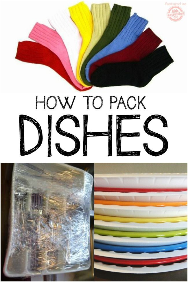 "socks for glasses. Use plastic wrap to ""pack"" utensils, pots and the rest of the kitchen. Plastic plates between china plates"