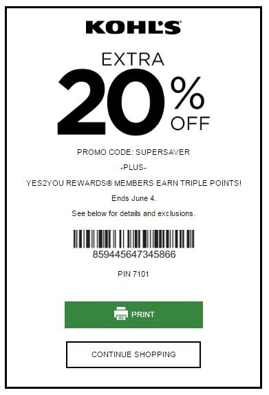 KOHL'S YES PASS COUPON: SAVE 20% OFF SITEWIDE. Here is new shopping pass coupon from Kohls. Get extra saving 20% Off any order using coupon code: SUPERSAVER at checkout. Plus YES2YOU rewards members earn TRIPLE points!