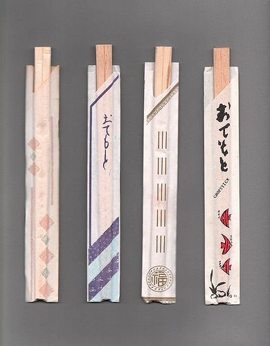 Chopstick Wrappers by crabstick, via Flickr. Some beautiful minmal patterns