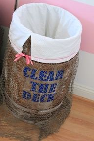 "This would be a cute laundry hamper idea for a pirate themed room. Should be ""Swab the deck"", though"