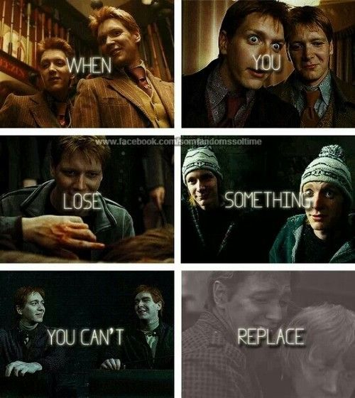 Harry Potter Challenge Day 23 | Part that makes you cry? Fred Weasley's death. Every time I read/see it... Fred loses his life and George loses his twin. :(( *cries*