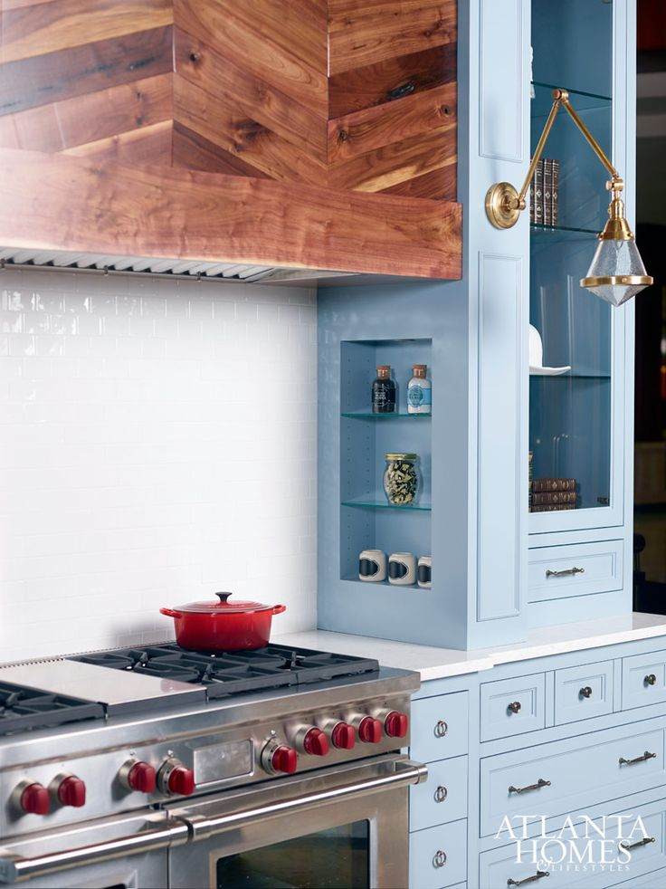 Powder Blue Kitchen Cabinets   Blue Kitchen Design   A Round Up Of  Inspiration For Colored Kitchen Cabinets