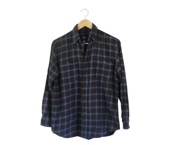 Lumbersexual Blue Flannel Shirt 90s Grunge Men Plaid by #ShineBrightVintage