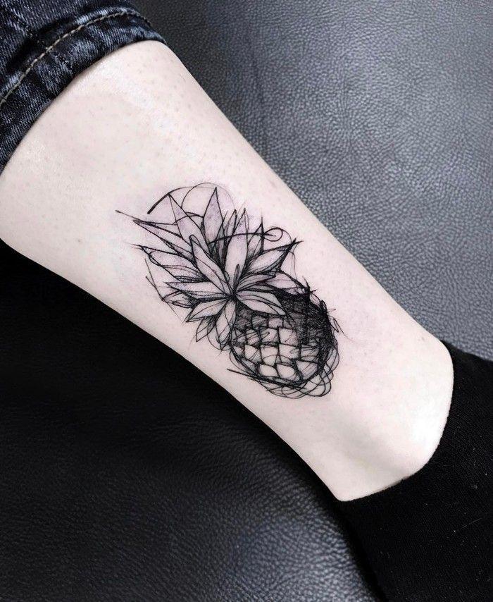 Sketch Style Pineapple Tattoo by katyageta