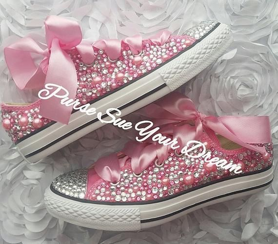 Custom Swarovski Crystal and Pearl Converse Shoes Flower