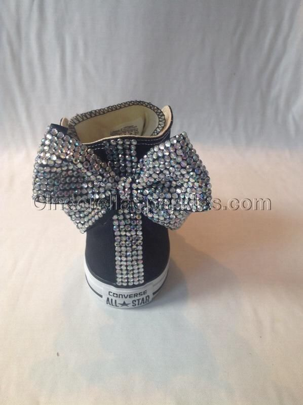 Black high top Rhinestone Crystal with Large Bows Converse