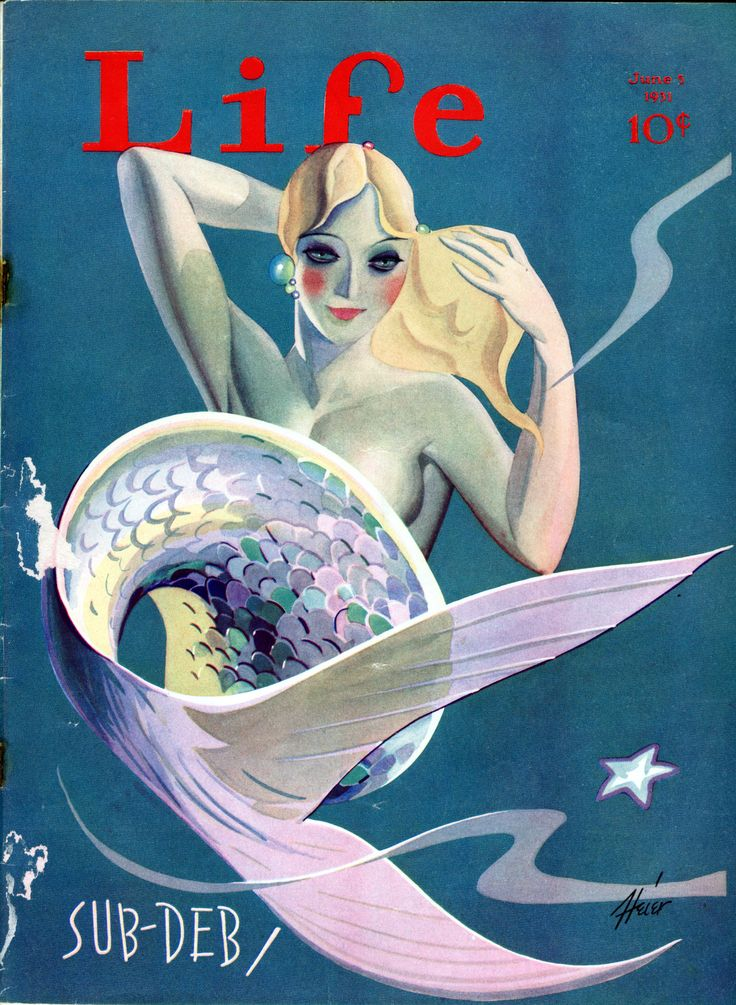 """""""Art Deco Mermaid by Heier,"""" Life Magazine Cover [June 5, 1931] … Sailor Gil Collection"""