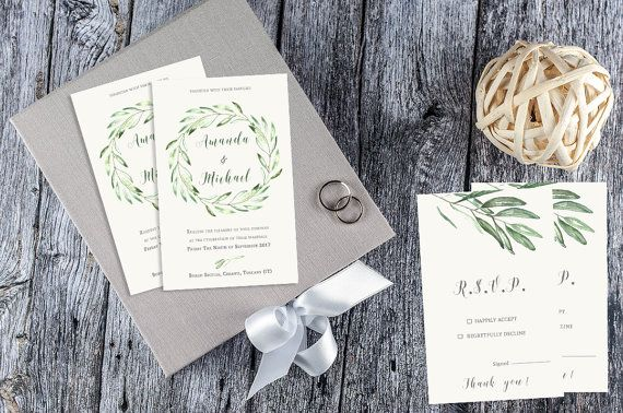 Olive Branch Wedding Invitation / Tuscany di AYAKAstudio su Etsy