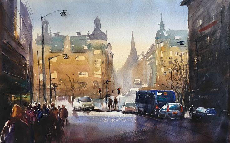 Norra Bantorget, Stockholm. Akvarell av Stefan Gadnell