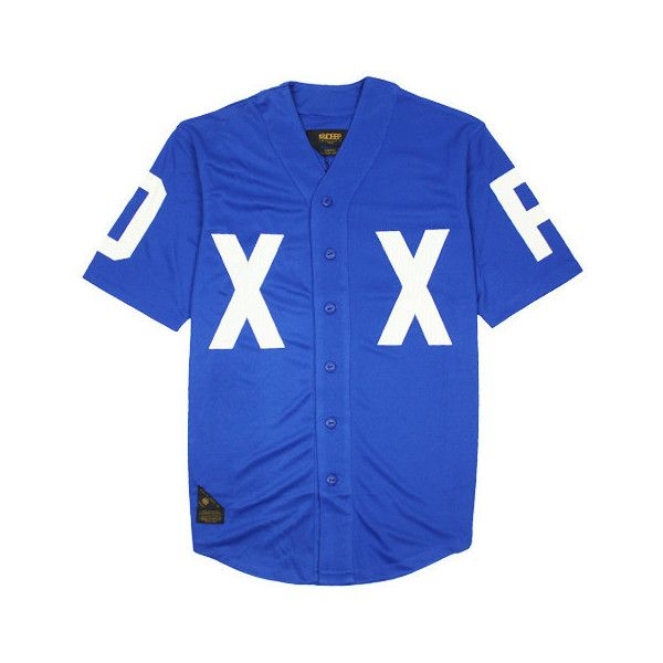 10 DEEP Dxxp Baseball Jersey (Blue) ($84) ❤ liked on Polyvore featuring tops, shirts, jersey, blue top, baseball jersey shirts, baseball jerseys, shirt tops and jersey shirt