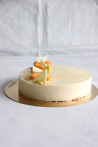 Entremets SOLEIL bavaroise amande, crémeux vanille façon crème brulée,coulis abricot, mousse abricot, biscuit macaron aux éclats de pistaches,