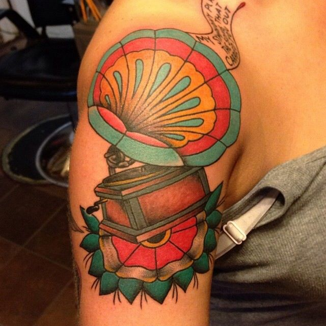 Old Style Record Player Traditional Tattoo Ironclad Tattoo