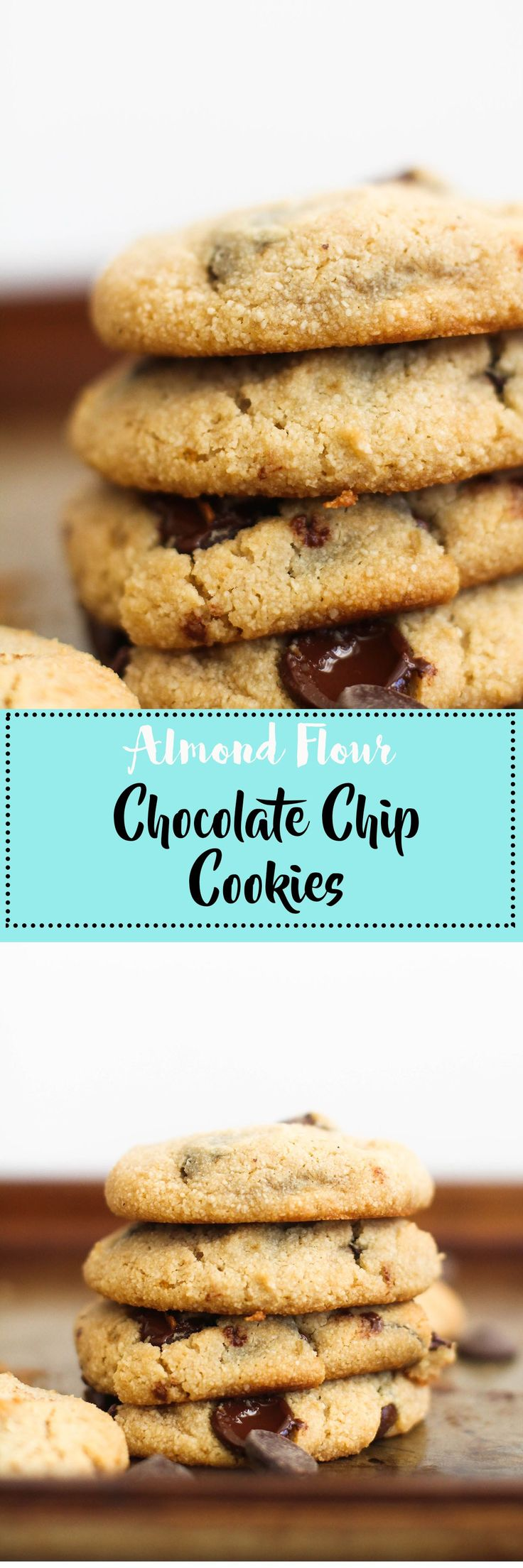 These almond flour chocolate chip cookies are vegan, gluten free, refined sugar free, and absolutely delicious. They're made with easy, natural ingredients and make for a great snack.