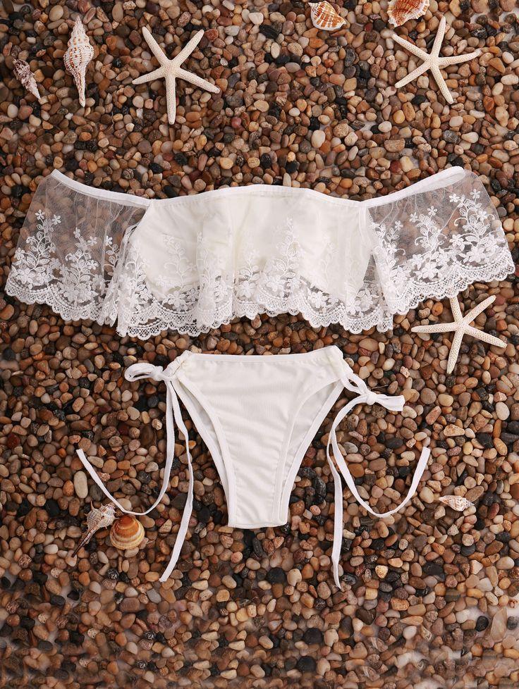 Lace Splice Off The Shoulder Bikini Set WHITE: Bikinis | ZAFUL | http://www.zaful.com/lace-splice-off-the-shoulder-bikini-set-p_176272.html