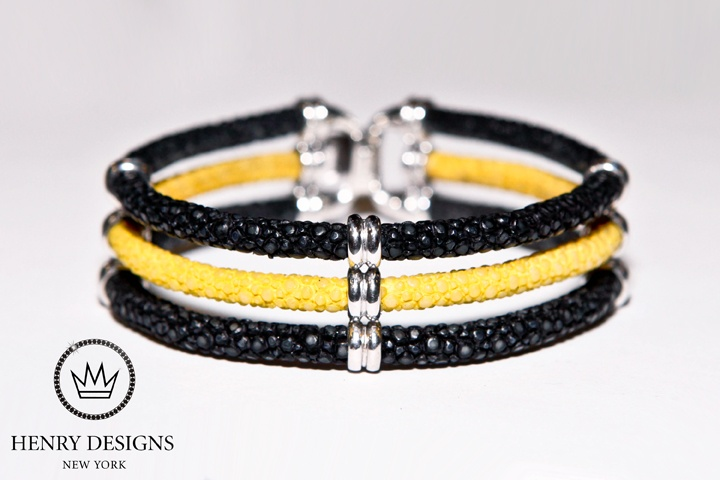 """Bumble Bee"" Sting Triple Stack Bracelet    Shown in Prestige High Polish Silver     *Also Available in Matte Finish Silver, Yellow Gold & Platinum*    Hand Crafted in New York    #Fashion #Bracelet #Bracelets #Beauty #Unisex #Jewelry available in #Silver #Gold #Platinum #RoseGold #Diamonds #HandCrafted in #NewYork #USA     #Chic #BlackandYellow #Black #Yellow #Stunning #Statement #Class #Stingray #Sea"