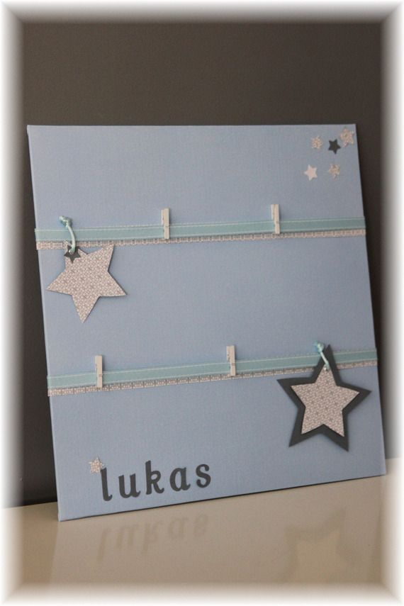 Cadre toile porte photo/pele-mele chambre bébé / garçon - bleu ciel / gris / idée cadeau personnalisé