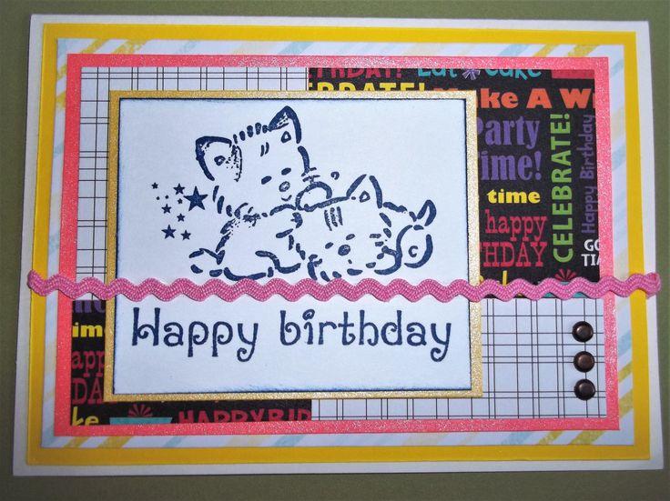 Birthday Greeting Card, Kitten Card, Handmade Birthday Card, Stamped Kitten image card, Adorable Cats by RJCurtisCrafts on Etsy