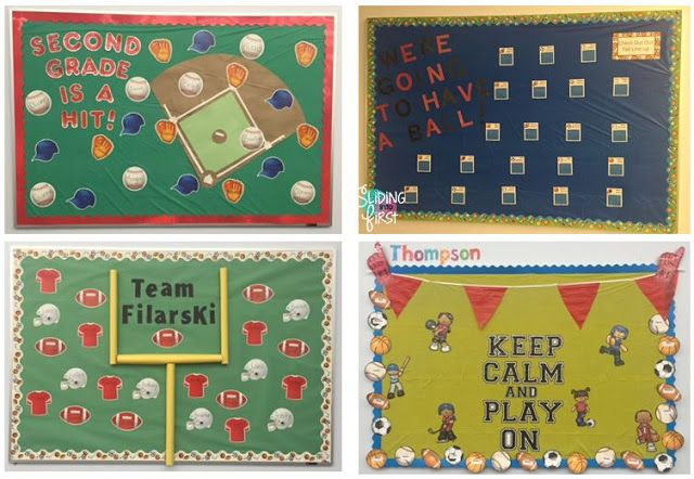 Sliding into First!, classroom organization, classroom decor, bulletin boards, sports theme, baseball, football, team theme