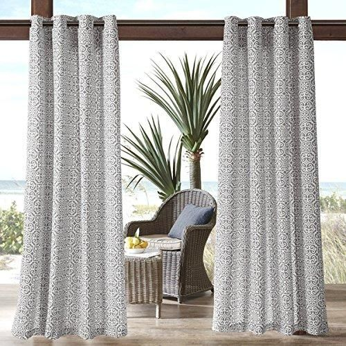 95 Inch Grey Geometric Pattern Gazebo Curtain Single Panel Gray Fretwork Pattern Rugby Colors Outside Outdoor Pergola Drapes Porch Deck Cabana Patio