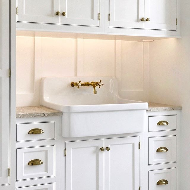 LAUNDRY ROOM | Farmhouse Sink, Shaker Cabinets, Shiplap, Board and Batten, Sandstone, Harlequin Tile, Unlacquered Brass, Drying Racks