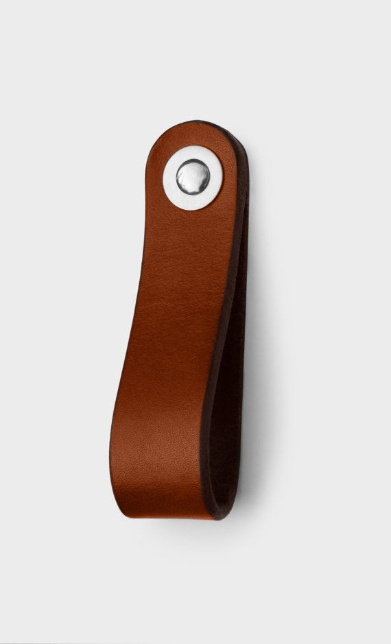 Leather Drawer Pull and Kitchen Cabinet Handle  by WalnutStudiolo