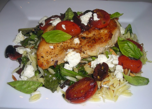 Chicken with Tomatoes, Basil, and Feta served over Orzo