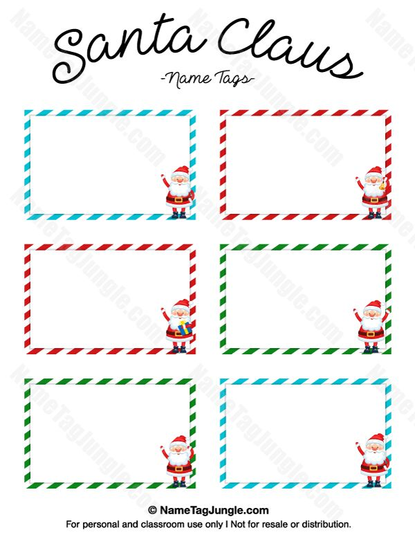 free printable santa claus name tags the template can also be used for creating items like