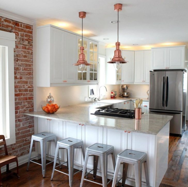 Kitchen. Small U shape kitchen decoration using light gray granite kitchen counter tops including brown brick kitchen walls and round brown nautical copper kitchen light fixtures. Magnificent kitchen designs with great copper kitchen light fixtures