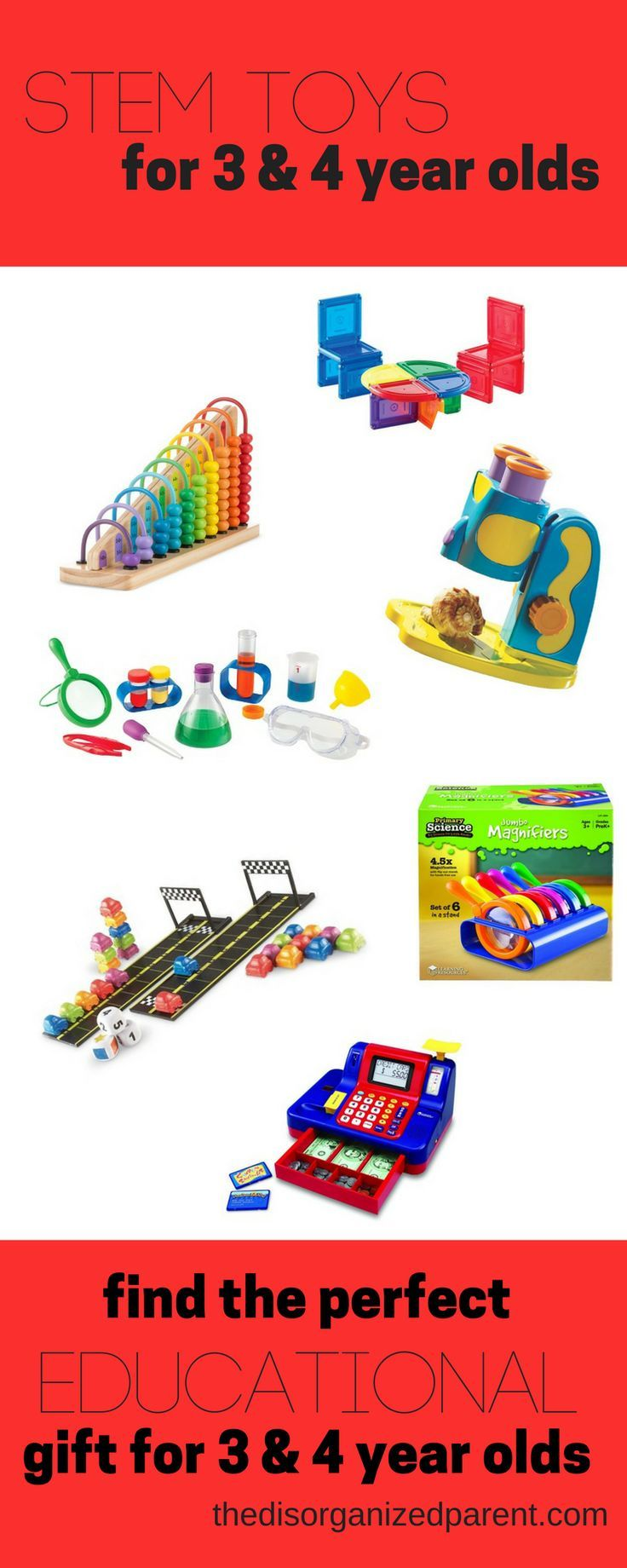 STEM Toys are perfect educational gift for kids! Here's a comprehensive list of toys to buy for 3-4 year olds that will make kids and parents both happy