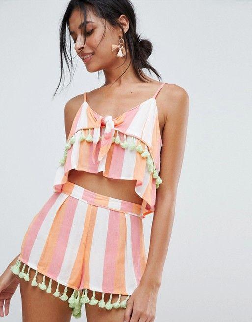 9890b17048 River Island Multi Stripe Tassel Detail Beach Shorts | My Style | Denim  shorts, Ibiza outfits, Shorts