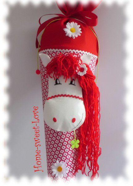 "Schultüte "" Pony in red ""  Stofftüte  Pferd"