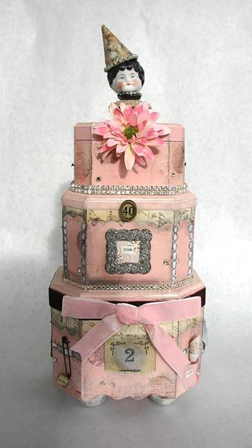 Mixed Media CakesAltered Boxes, Gift Boxes, Hats Boxes, Mixed Media Vintage Cards, Boxes Cake, Media Cake, Wooden Boxes, Wood Boxes, Mixed Media Art