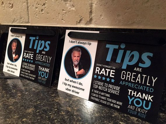 Uber Tips and Rating Sign for Uber Drivers by LouisvilleMarketing