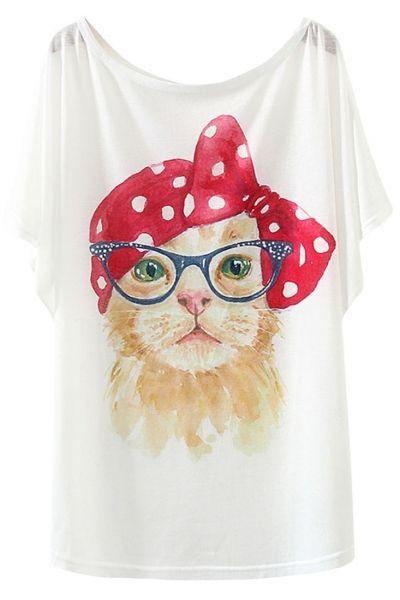 Pop Cat Print Batwing Sleeves Tee - OASAP.com