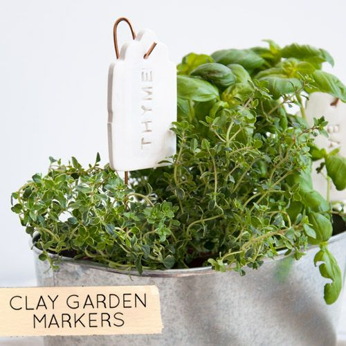 diy ceramic garden markers: Tags Plants, Clay Gardens, Plant Markers ...