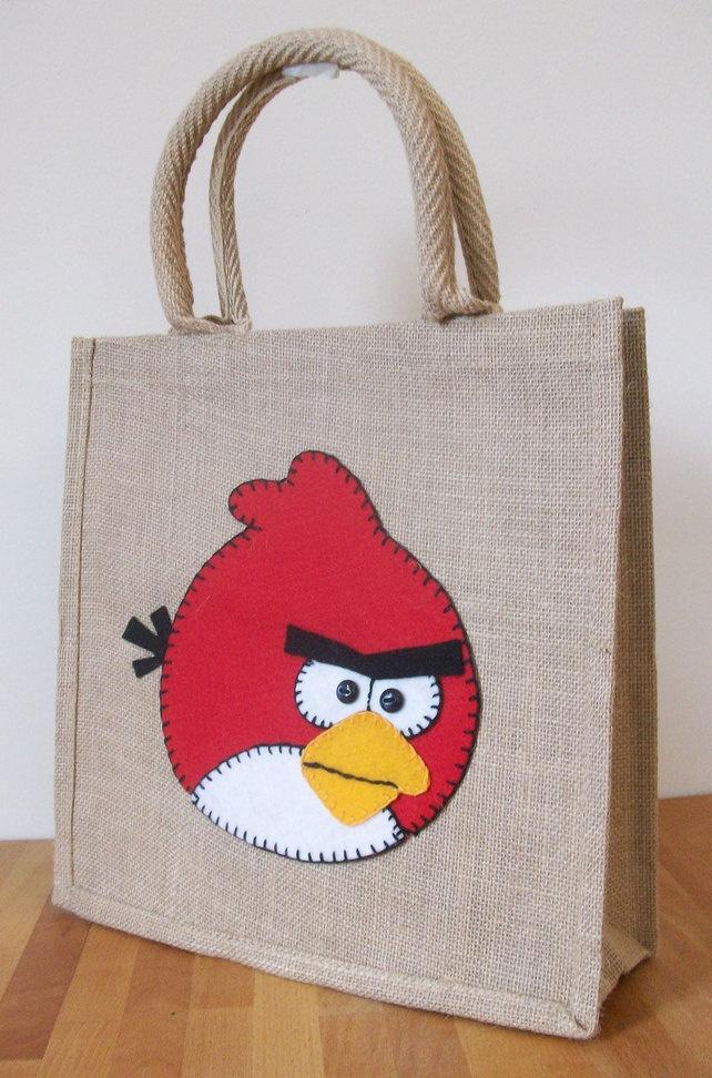Natural Jute Hessian Animal Medium Shopping Bag -  Felt  Angry Bird Motif