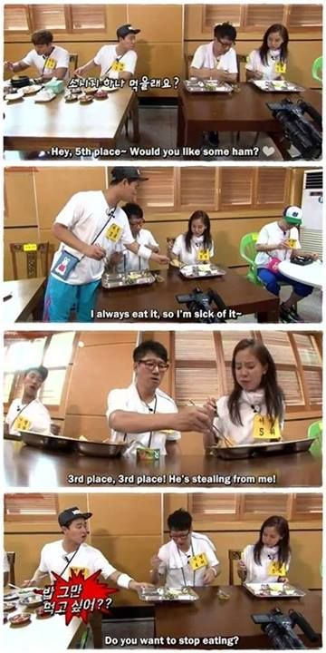 Monday Couple: Sharing is caring.  Gary: Suk Jin Hyung Don't take my girlfriends food or I'll take all of yours Suk Jin: Alright