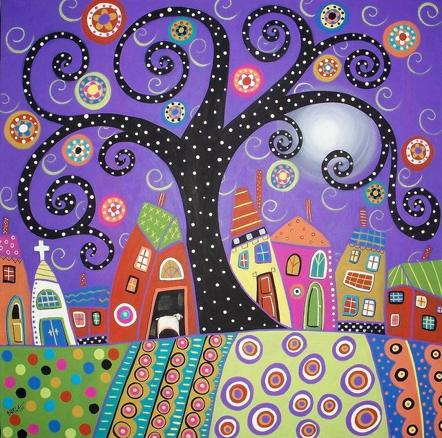 Polka Dot Tree acrylic painting by Karla G