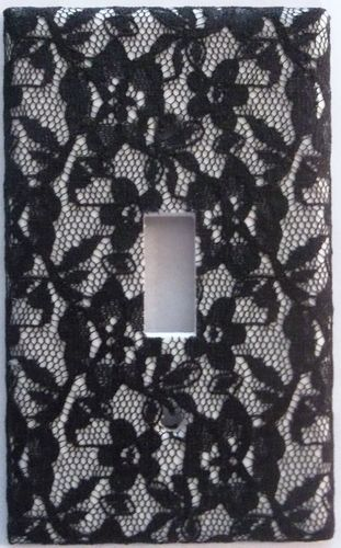 Floral Black Lace Light Switch Outlet Plate Cover Sexy Bedroom Flower Wall Decor