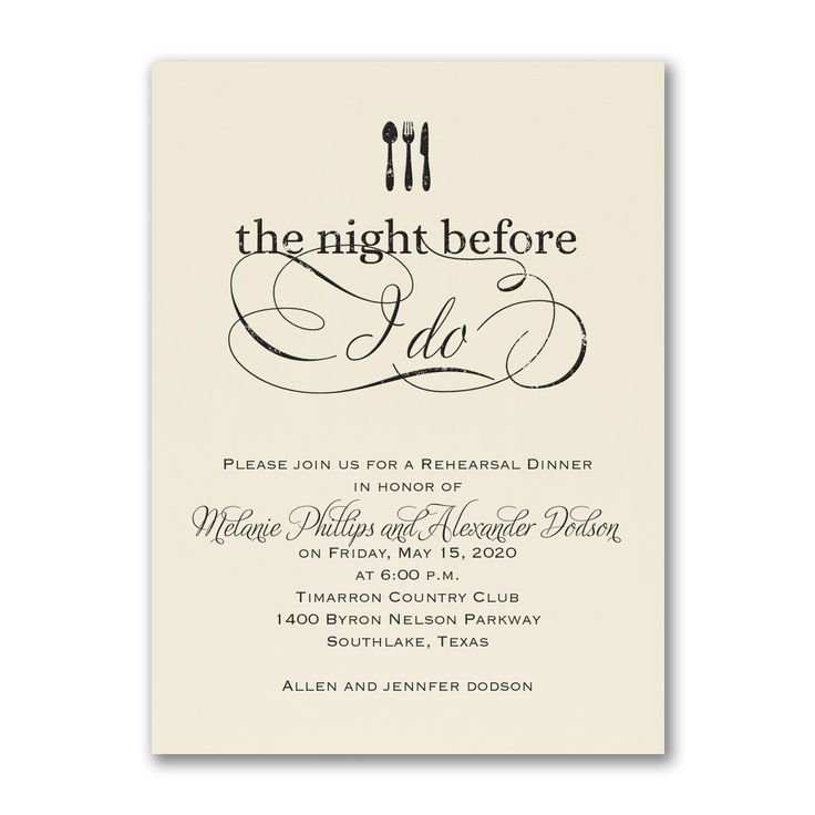 The Night Before I Do Rehearsal Dinner Invitations choose color! http://partyblock.carlsoncraft.com/Wedding/Rehearsal-Dinner/NB-NB28319EC-The-Night-Before-I-Do--Invitation--Ecru.pro