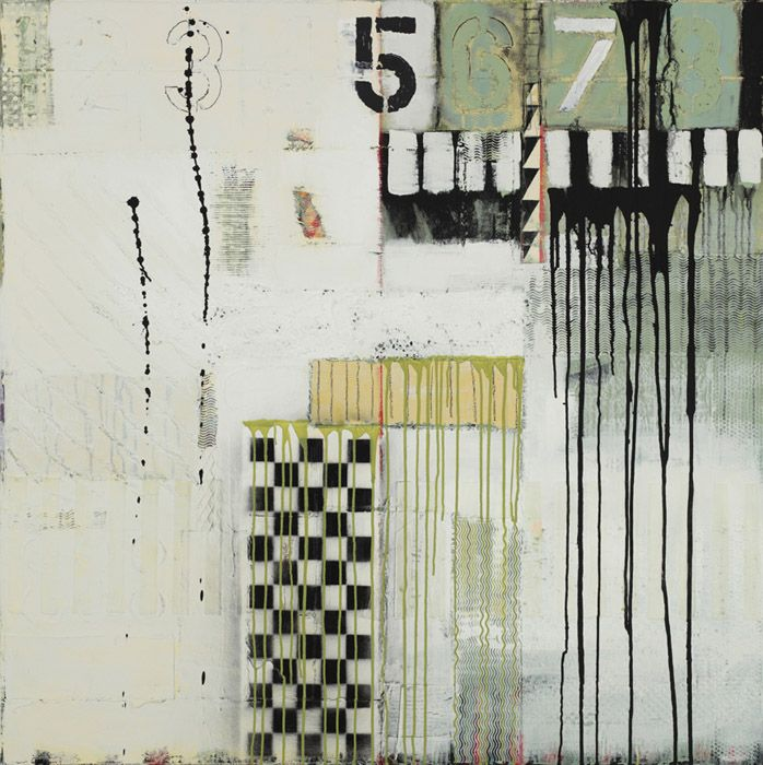 """Judy Campbell  Frontrange  48"""" x 48""""  mixed media on canvas"""