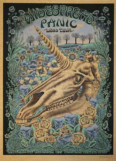 2012 Widespread Panic - Atlanta Wood Variant Silkscreen Concert Poster by Emek