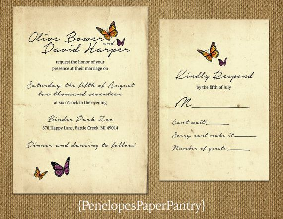 Wedding Butterfly Invitations: This Is Nice Save The Dates. Simple And Pretty. The