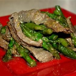 Strips of round steak and chopped scallions are marinated with soy sauce and garlic, then quickly stir fried with sesame seeds. Add a little sesame oil to the marinade if you like that flavor.