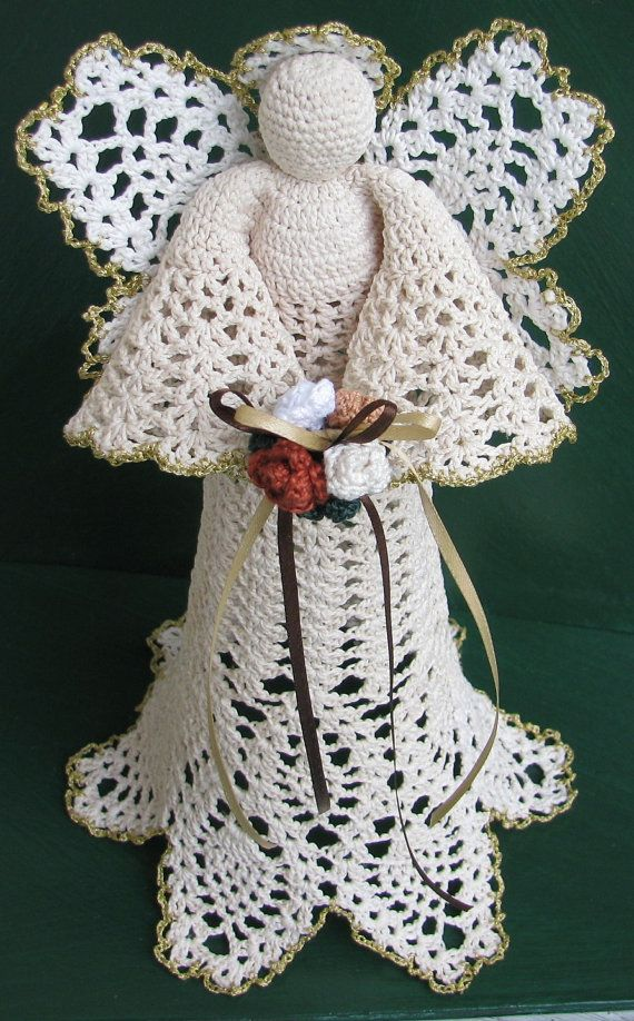 Large Crochet Tree Topper Angel Royal by HeritageHeartcraft