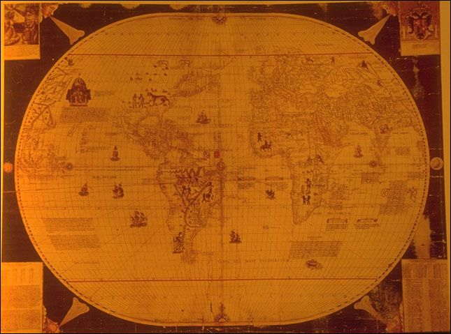 World map, Sebastian Cabot  (1544) map maker to King Edward VI.  Created this world map which was printed and hung on the walls of the Privy Chamber in Whitehall.