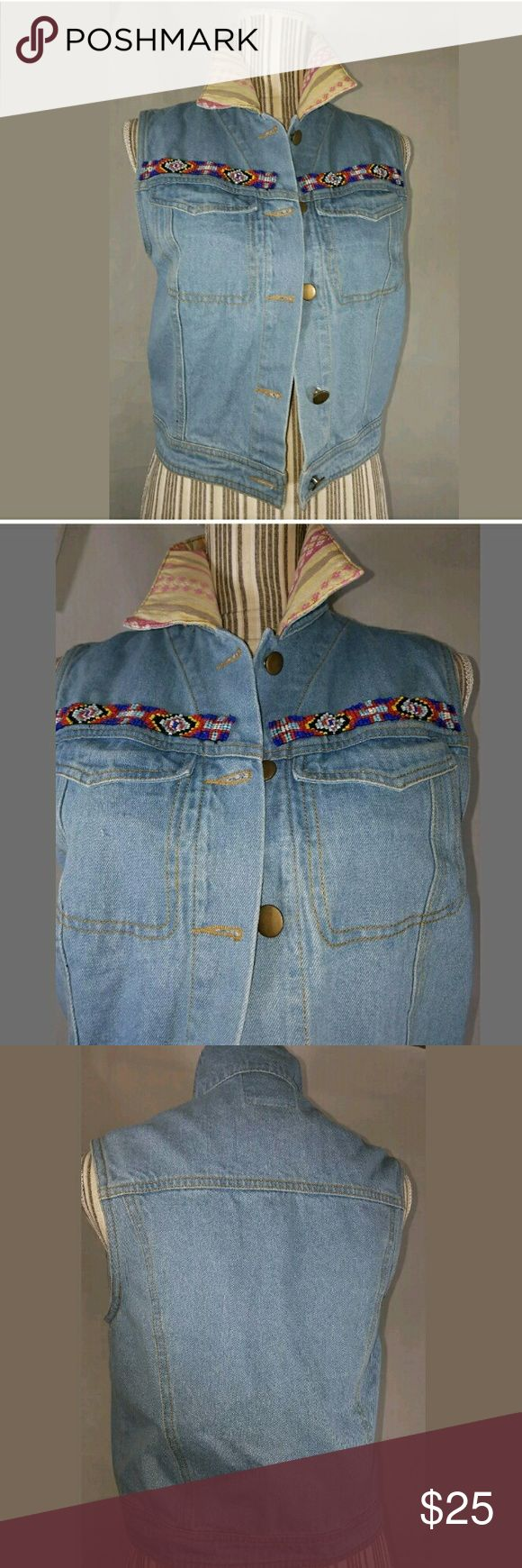 Billy by Flying Tomato Denim Jean Vest Aztec Print Billy by Flying Tomato Denim Jean Vest Aztec Print Beaded SM  Cute, custom vest. No flaws or stains.  17 inches.  19 inches long.   LB Flying Tomato Jackets & Coats Vests