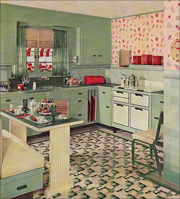 "1935 Armstrong Kitchen    Armstrong published not only color ads, which were often the only color pages in many Depression Era magazines, but widely distributed brochures. This kitchen came from ""The Story of the Five Dream Kitchens"" which ranged from cozy like this to modern and Asian styles. See Antique Home  Style"